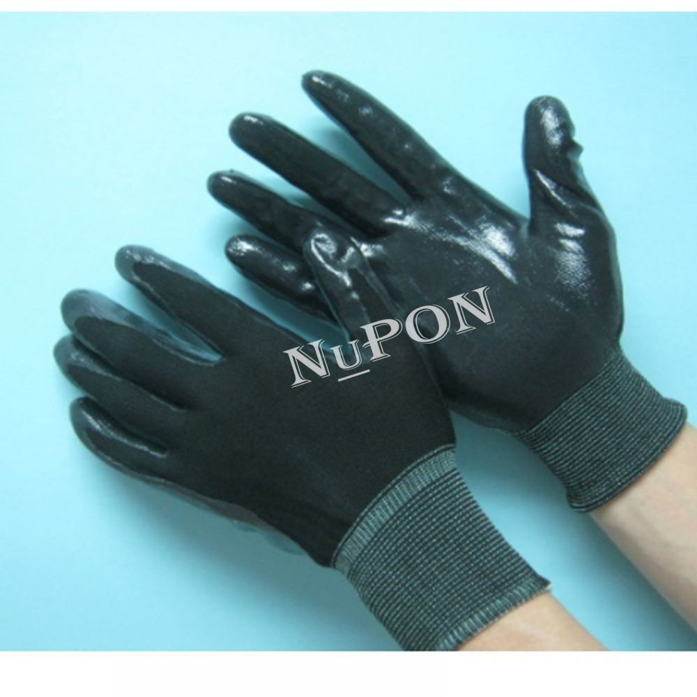Black Knitted Black Nitrile Palm Coated