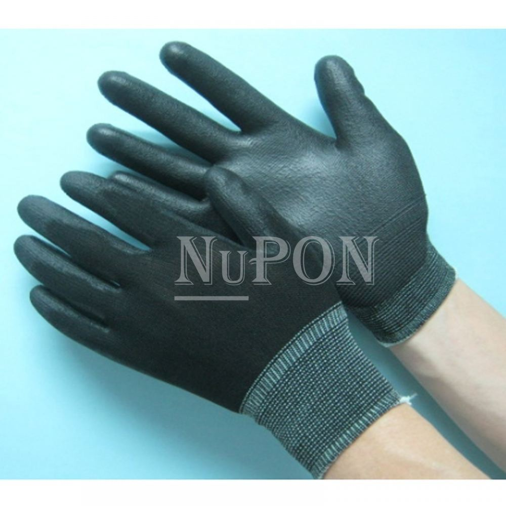 Black Nylon PU Black Palm Coated Gloves