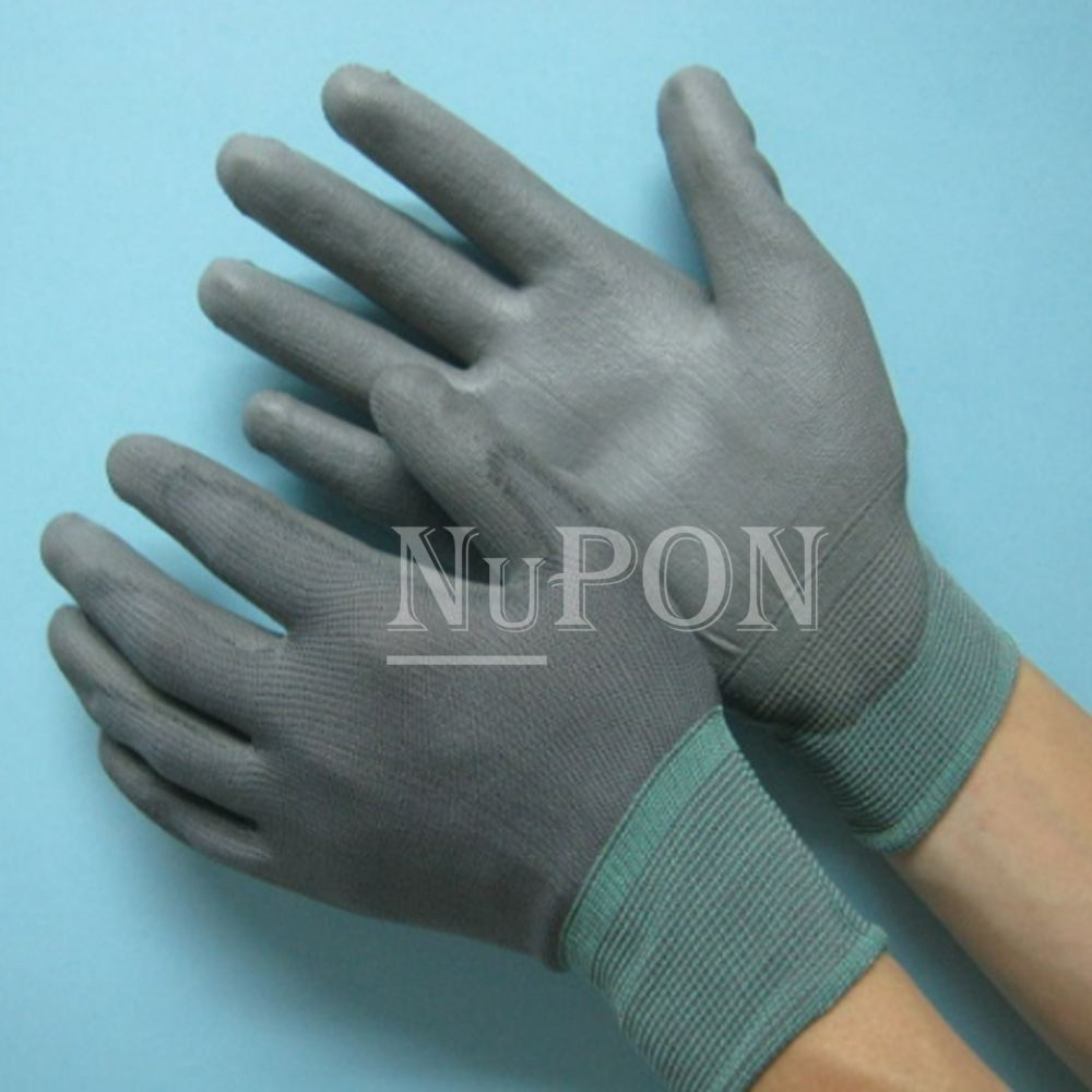 Grey Nylon Grey PU Palm Coated Gloves