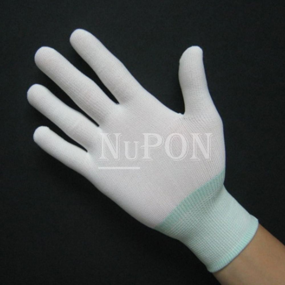 White Nylon Knitted Gloves (without PU)