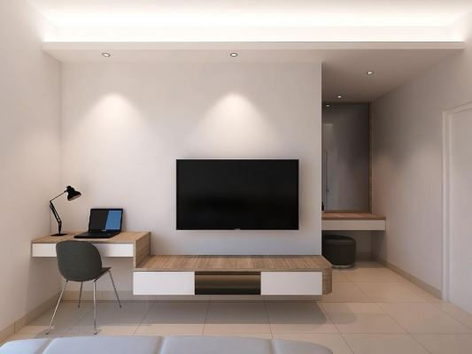 Study Table With  TV Rack Design Refer - MAPLE RESIDENCES