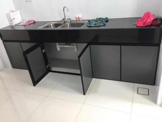Cabinet Swing Door PC Black + Composite Panel Grey @Semenyih, Kajang