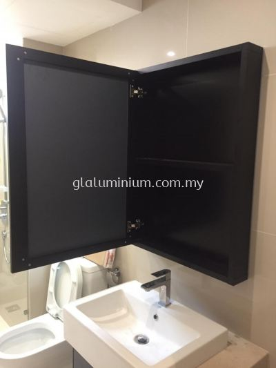 "Aluminium 1""x 4"" hollow ( powder coated black) + swing door +mirror @united point Residence, jalan Lang Emas, Kuala Lumpur"