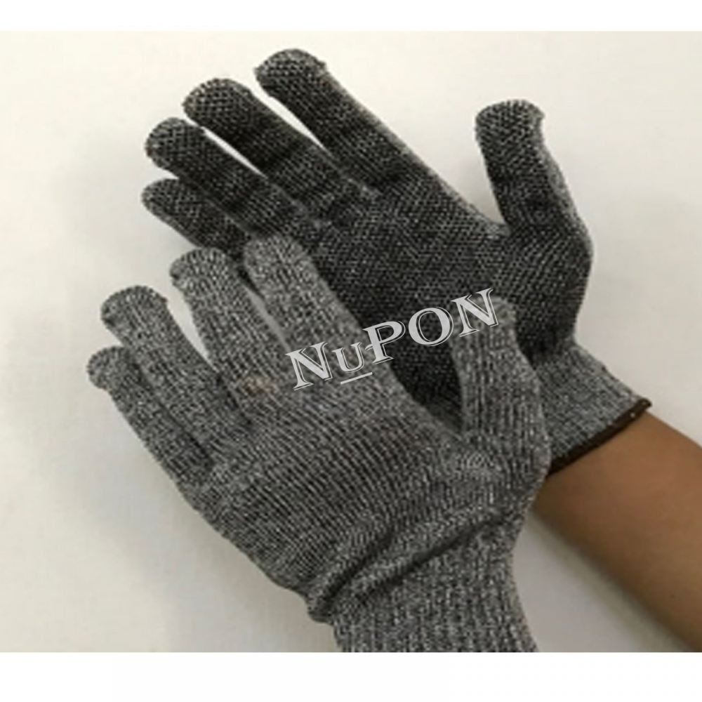 Grey Cut Resistant PVC Palm Dotted Glove
