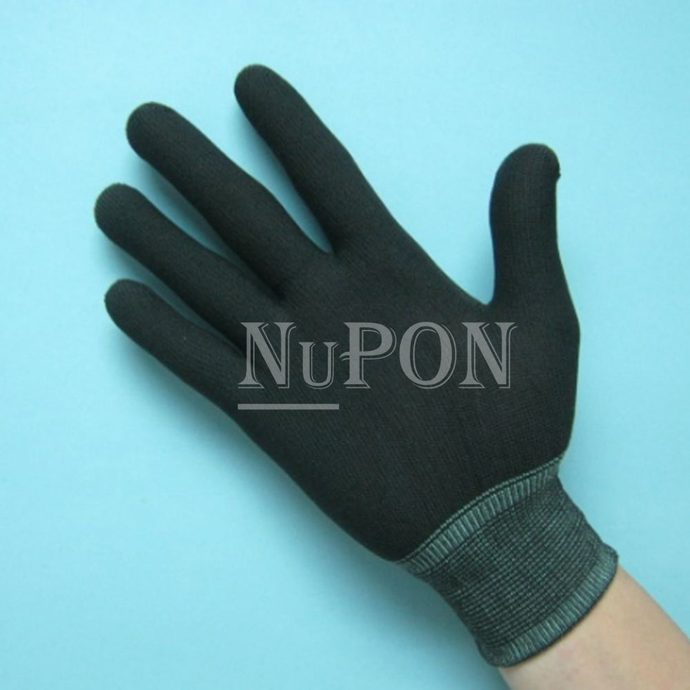Black Nylon Knitted Gloves (without PU)