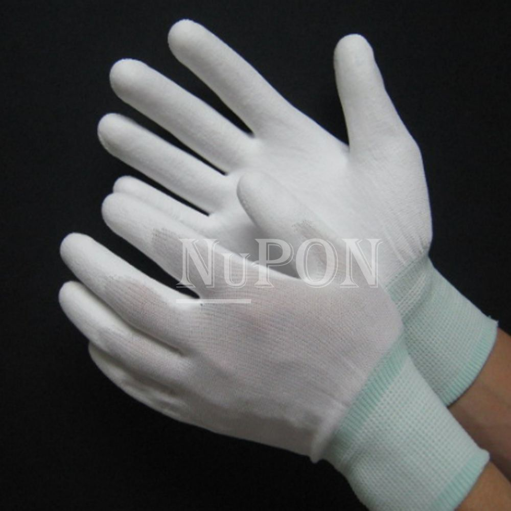 White Nylon PU Palm Coated Gloves