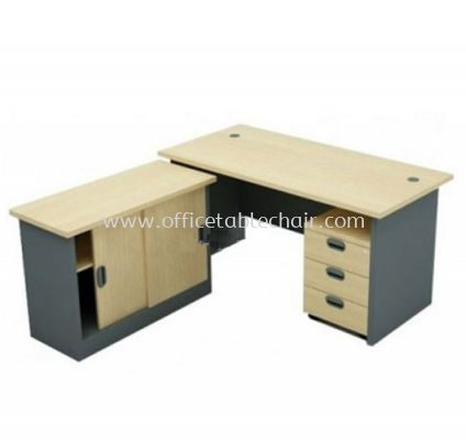 6FT WRITING OFFICE TABLE WOODEN BASE WITH SLIDING SIDE CABINET & MOBILE PEDESTAL 3D