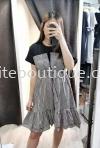气质撞色拼接收腰格子连身裙 (黑色)OK 裙子