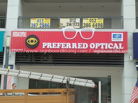 Preferred Optical Aluminium Ceiling Trim Casing 3D Box Up Led Frontlit Lettering Signage Signboard At Klang Kuala Lumpur