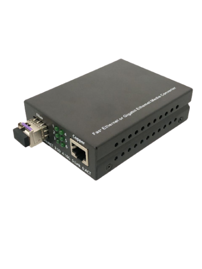 1000BASE CAT6(A) SINGLEMODE SINGLECORE (LC) MEDIA CONVERTER