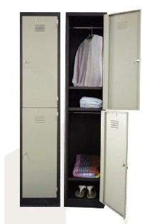 2 compartment steel locker with 1 hanging bar and 1 steel fixed shelve each