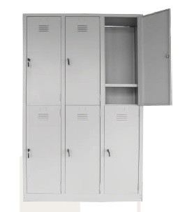 6 compartment steel locker with 1 hanging rod and 1 fixed shelf each