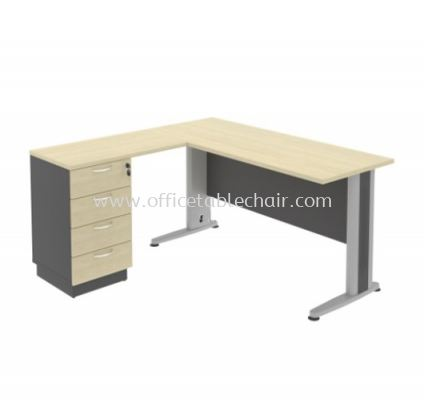 TITUS EXECUTIVE RECTANGULAR WRITING OFFICE TABLE WITH FIXED PEDESTAL 4D (W/O GROMMET)