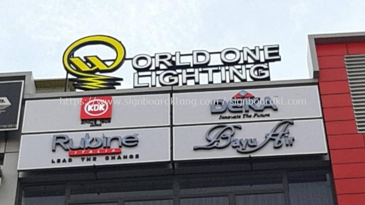 world one lighting aluminium box up 3d frontlit lettering signage signboard at klang kuala lumpur