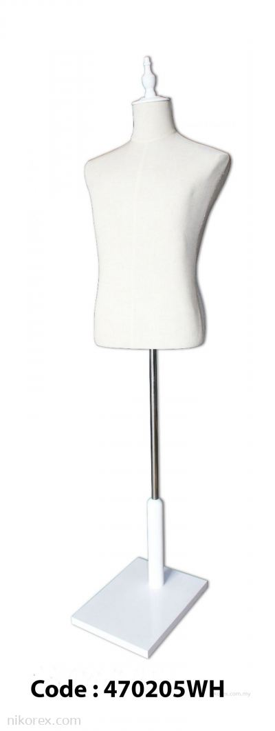 470205WH - MALE TORSO LINEN with SQ. WOODEN BASE (WHITE)