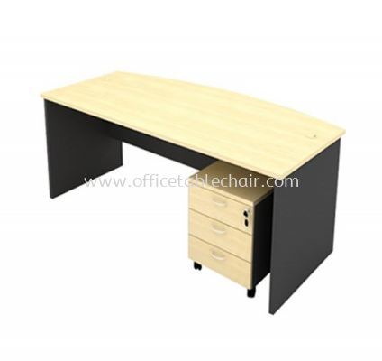 6FT WOODEN BASE EXECUTIVE CURVE TABLE WITH MOBILE PEDESTAL 3D