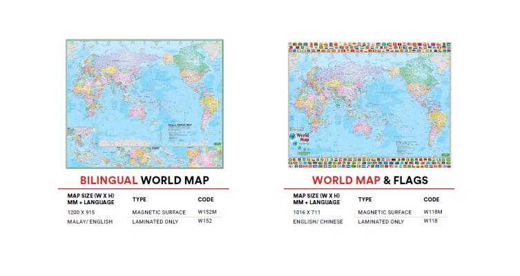 W152M Bilingual World Map