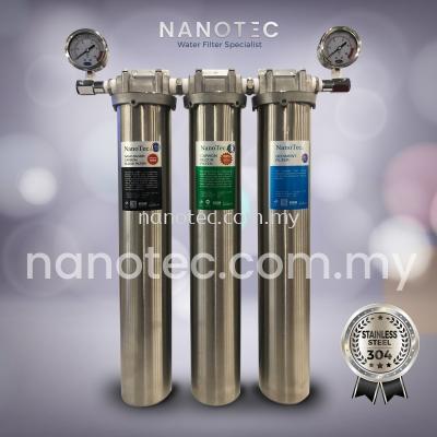 NanoTec 304 Stainless Steel Premium 20��  Triple Housing Water Filter