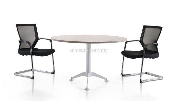 Round discussion table with white taxus leg