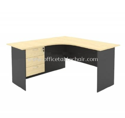 5FT WOODEN BASE L-SHAPE TABLE WITH FIXED PEDESTAL 3D