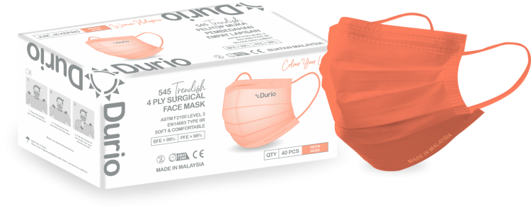 Durio 545 Trendish 4 Ply Surgical Face Mask- Neon Nude