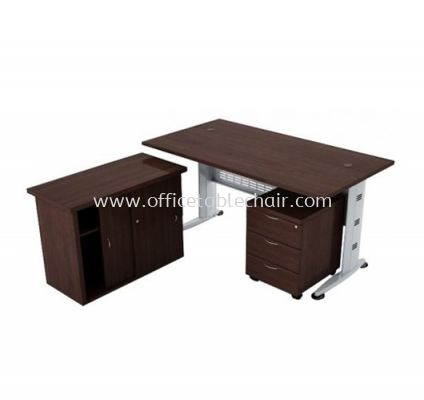 QAMAR RECTANGULAR OFFICE TABLE SET WITH SIDE CABINET AND MOBILE PEDESTAL 3D