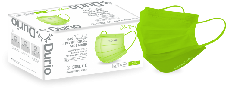 Durio 545 Trendish 4 Ply Surgical Face Mask- Neon Green