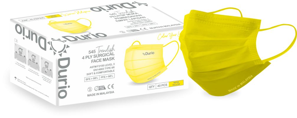 Durio 545 Trendish 4 Ply Surgical Face Mask- Neon Yellow