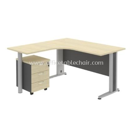 TITUS 5' L-SHAPE EXEUCITVE OFFICE  TABLE METAL J-LEG WITH POLE STAND & MOBILE PEDESTAL 3D