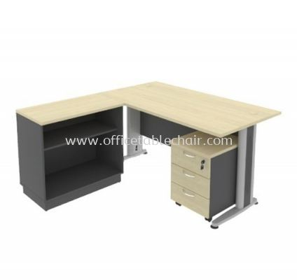 TITUS 5' EXECUTIVE RECTANGUALR WRITING OFFICE TABLE METAL J-LEG WITH OPEN SHELF OFFICE CABINET+ MOBILE PEDESTAL 3D