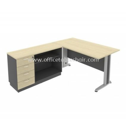 5FT METAL BASE EXECUTIVE TABLE WITH OPEN SHELF + FIXED PEDESTAL 4D