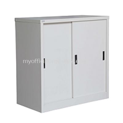S111 Half Height Cupboard with Steel Sliding Door & 1 Adjustable Shelves (Light Grey)