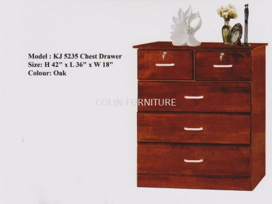 KJ5235 SOLID Chest drawer with lock oak