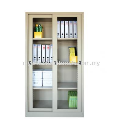 S119 Full Height Cupboard with Glass Sliding Door & 3 Adjustable Shelves (Light Grey)