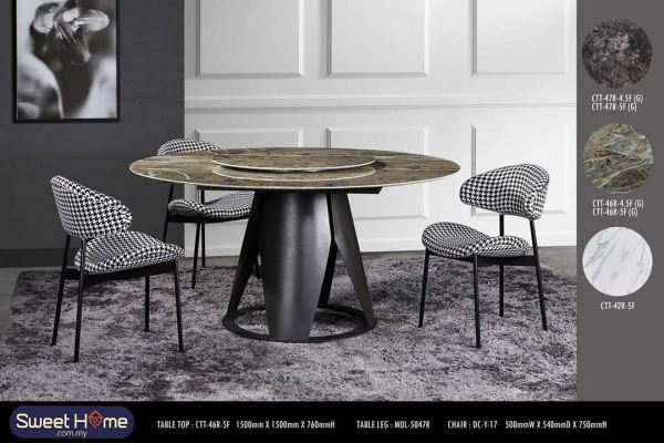 Round Ceramic Sintered Stone Marble Design Table 4.3ft 4.5ft and 5ft