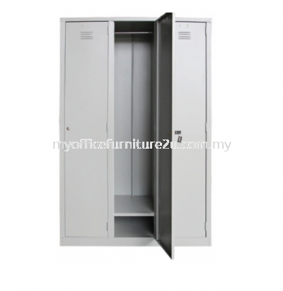 S138/A Steel Locker 3 Compartments with 1 Cloth Hanging Bar & 1 Fixed Shelve at Bottom at Each Compartment (Light Grey)