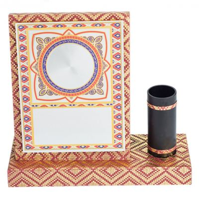 Songket Wooden Plaque with Pen Holder