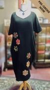 BTK(PD)002 Batik Floral Patchwork Midi Dress - Short Sleeve Dresses Batik Patchwork Batik Series