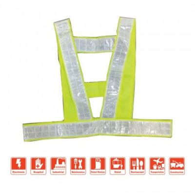 MK-SSC-20040YLW HIGH VISIBLE SAFETY REFLECTIVE VEST WITH STRIP