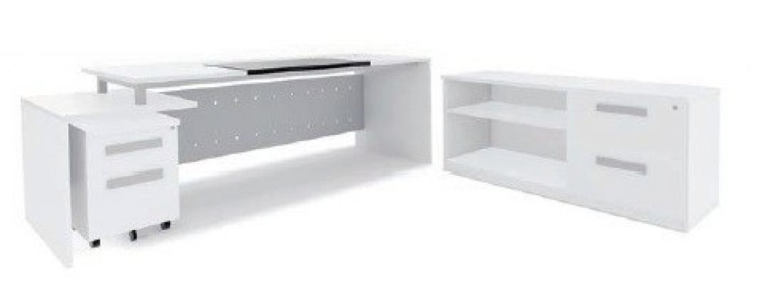 Director table with side return AIM7HD-1-White solution(Back view)
