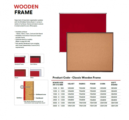 TN34W FABRIC Notice Board - Classic Wooden Frame