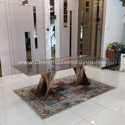 Luxury Dining Table | Palisandro Bluette | 8-10 Seaters | Italian Marble