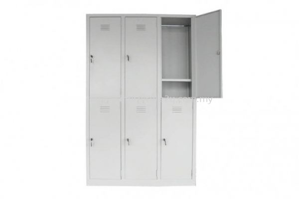 S141/A Steel Locker 6 Compartments with 1 Cloth Hanging Bar & 1 Fixed Shelve at Bottom at Each Compartment (Light Grey)