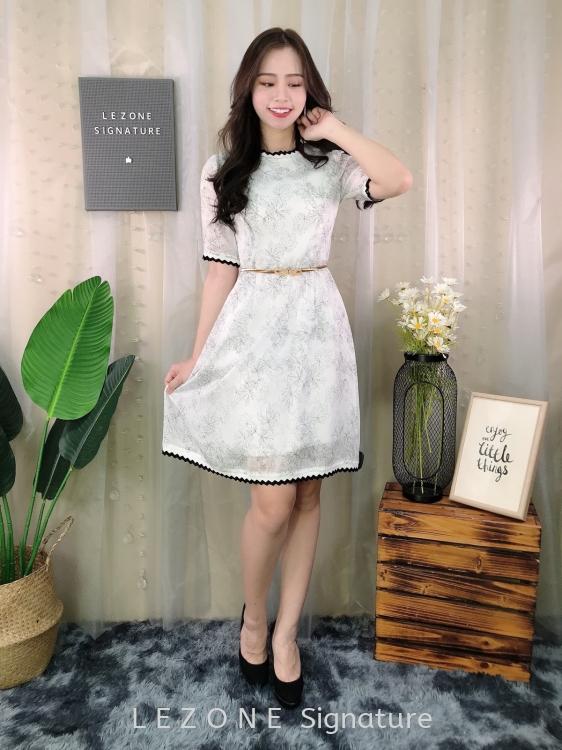 18415 Printing Floral Sleeved Dress
