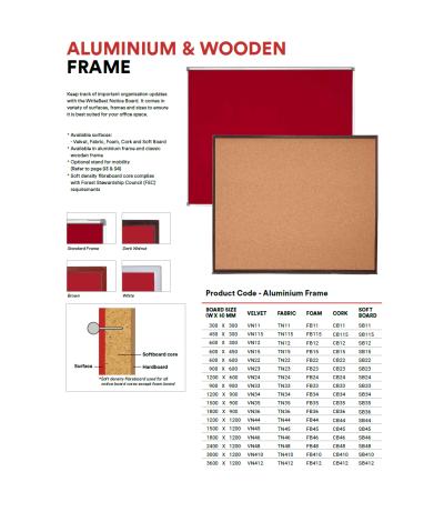 SB34W FOAM Notice Board - Classic Wooden Frame