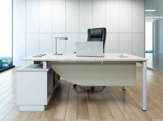 L Shape Director table with side credenza return