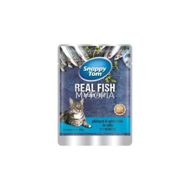 SNAPPY TOM POUCH PILCARD & WHITE FISH IN JELLY 85G