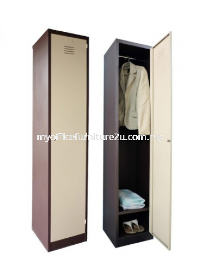 S114/DS Steel Locker 1 Compartment with 1 Cloth Hanging Bar & 1 Fixed Shelve at Bottom (Light Grey)