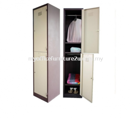 S114/CS Steel Locker 2 Compartments with 1 Cloth Hanging Bar & 1 Fixed Shelve at Bottom at Each Compartment (Light Grey)