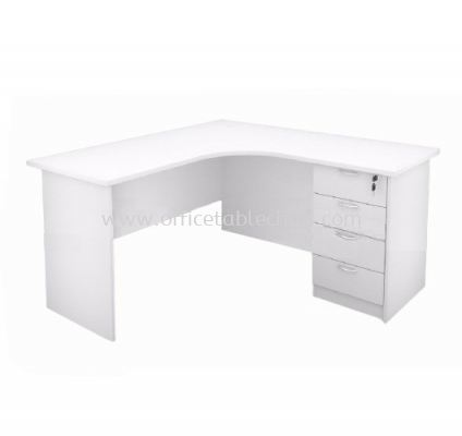 5' L-SHAPE WRITING TABLE WITH FIXED PEDESTAL 4D (WHITE)